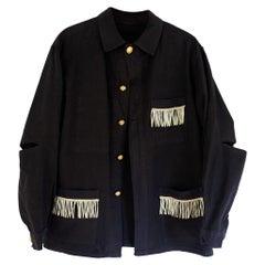 Black French Work Wear Jacket Blazer Silver Bullion Fringe J Dauphin