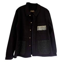 Black French Work Wear Jacket Blazer Silver Fringe Tweed J Dauphin