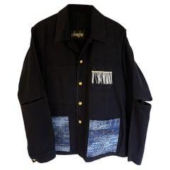 Black French Work Wear Jacket Fringes Blue Glitter Tweed  J Dauphin
