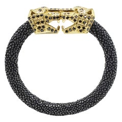 Black Galuchat Skin Bangle Bracelet with Panther Head Gold-Plated