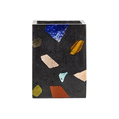 Black Gemstone Terrazzo Tall Vase