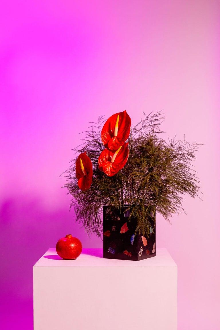 Post-Modern Black Cube Gemstone Terrazzo Vase or Planter For Sale