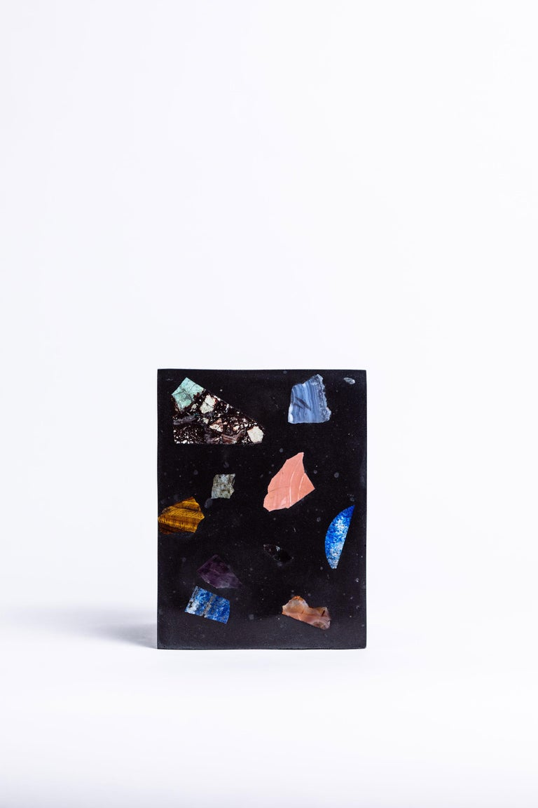 American Black Cube Gemstone Terrazzo Vase or Planter For Sale