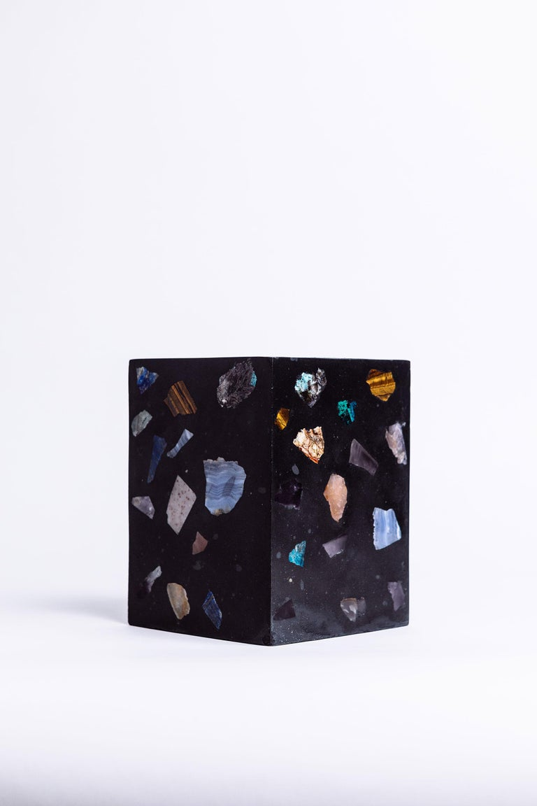 Hand-Crafted Black Cube Gemstone Terrazzo Vase or Planter For Sale