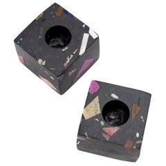 Black Gemstone Terrazzo Ziv Candleholder
