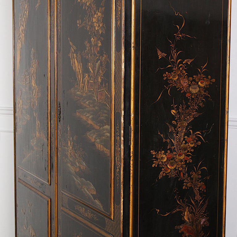 Chinoiserie Black and Gilt Lacquered 'Japanned' Armoire from Paris For Sale