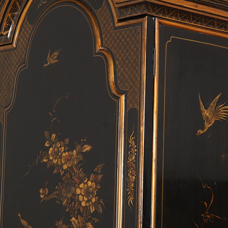 French Black and Gilt Lacquered 'Japanned' Armoire from Paris For Sale