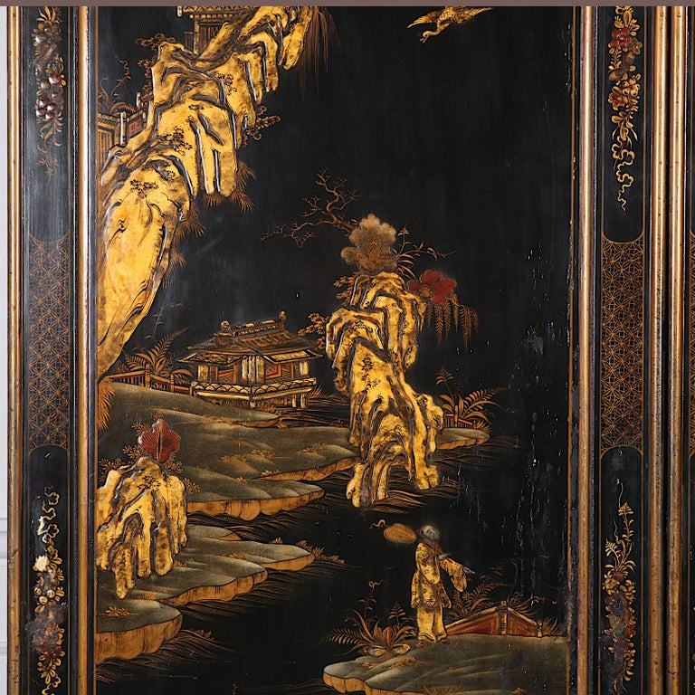 Early 20th Century Black and Gilt Lacquered 'Japanned' Armoire from Paris For Sale