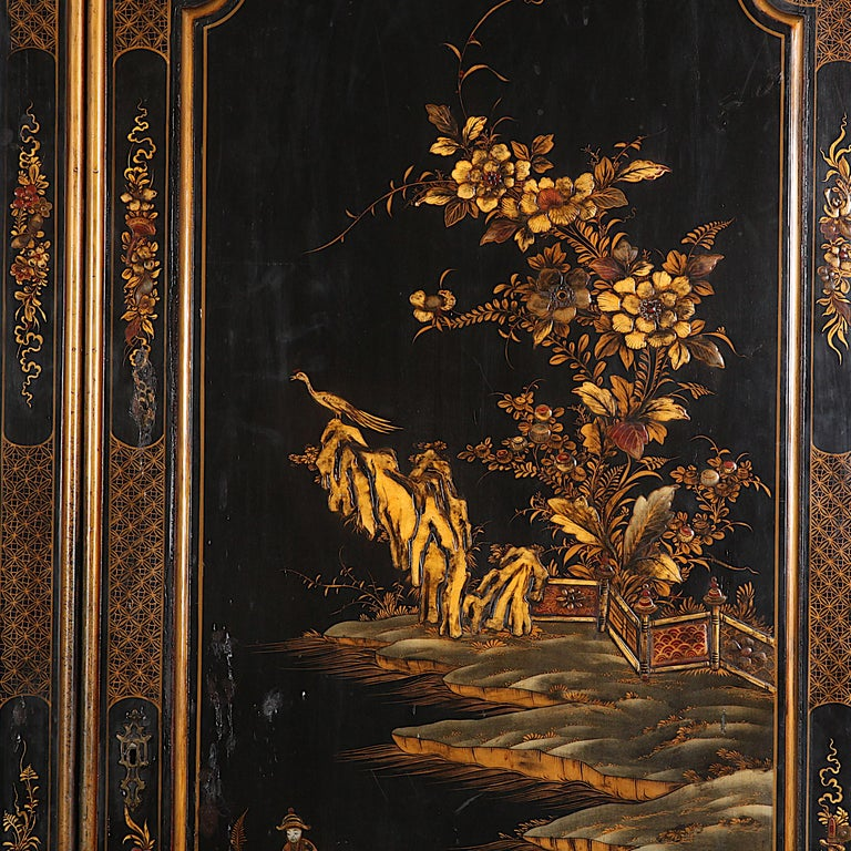 Giltwood Black and Gilt Lacquered 'Japanned' Armoire from Paris For Sale