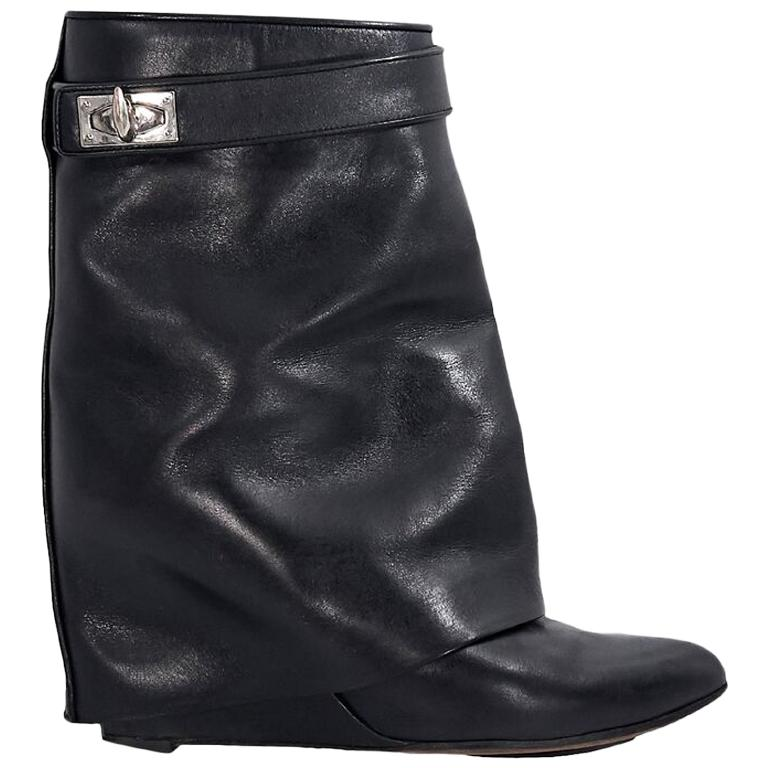 Black Givenchy Leather Shark Lock Wedge Boots For Sale at 1stdibs 8cc7e9ebf