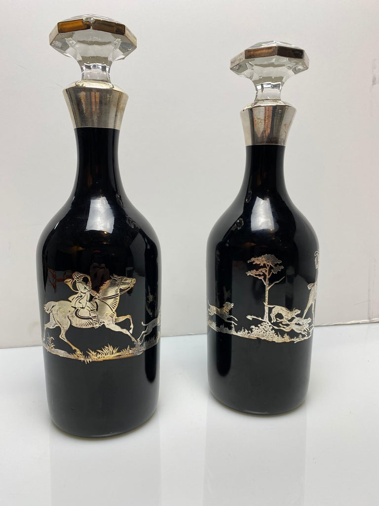 Modern Black Glass Decanters with Sterling For Sale
