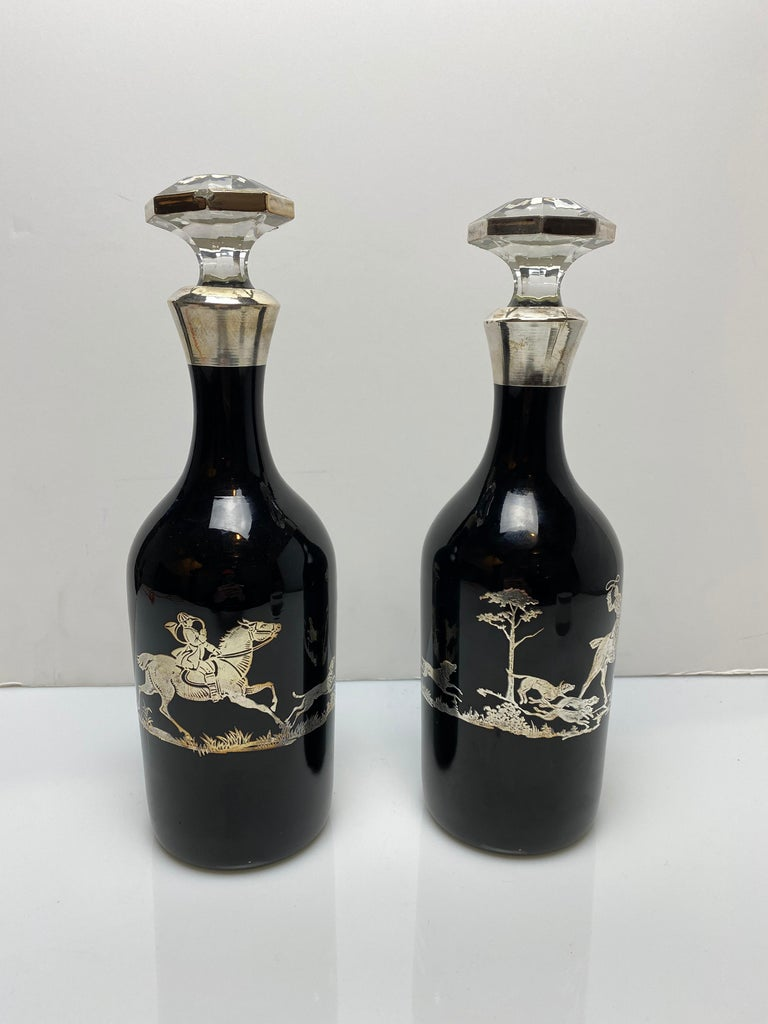 20th Century Black Glass Decanters with Sterling For Sale