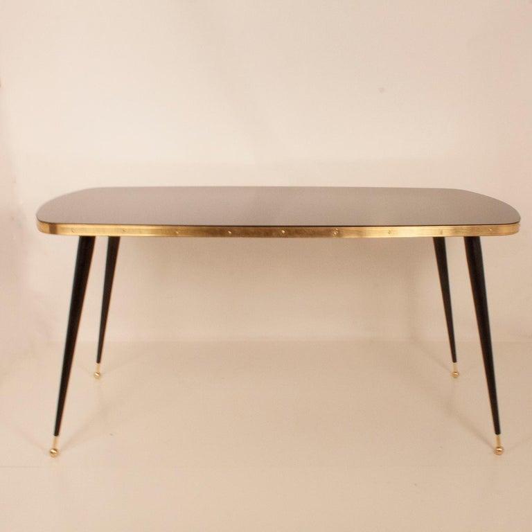 Black Glass Dinning Table, Brass, Black Iron Legs, Spain For Sale 4