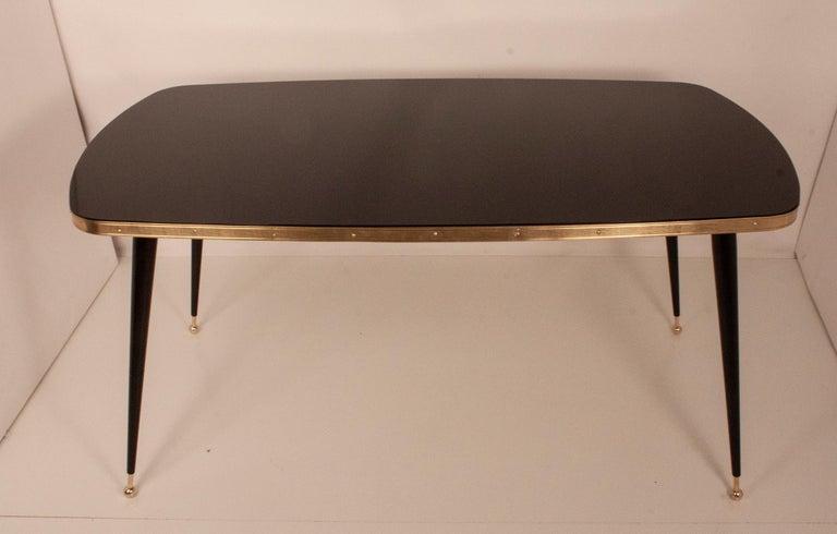 Mid-Century Modern Black Glass Dinning Table, Brass, Black Iron Legs, Spain For Sale
