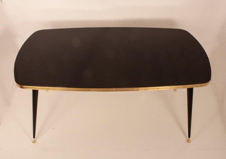 Spanish Black Glass Dinning Table, Brass, Black Iron Legs, Spain For Sale