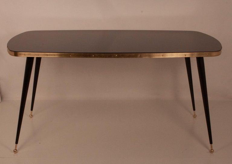 Black Glass Dinning Table, Brass, Black Iron Legs, Spain For Sale 1