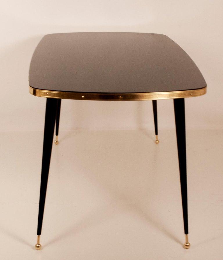 Black Glass Dinning Table, Brass, Black Iron Legs, Spain For Sale 2