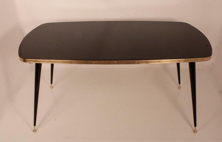 Black Glass Dinning Table, Brass, Black Iron Legs, Spain For Sale 3