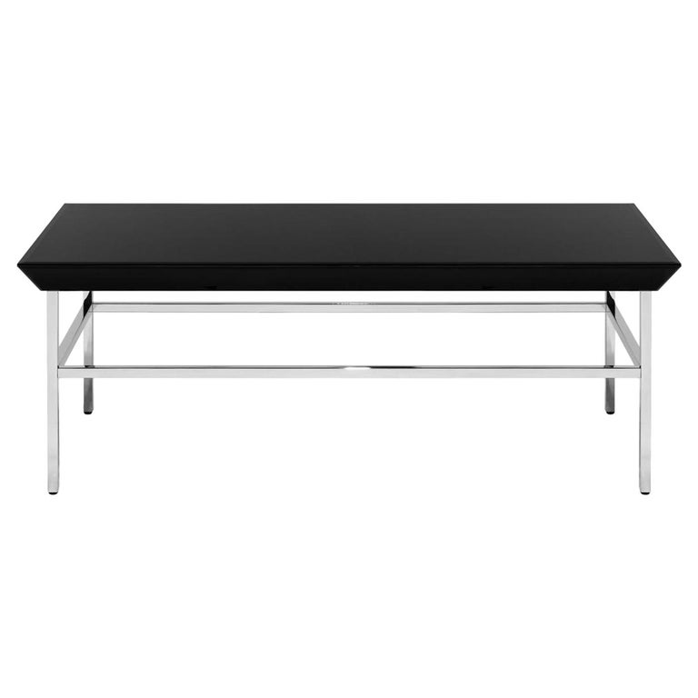 Black Glassy Coffee Table For Sale