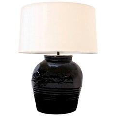 Black Glazed Ceramic Lamp