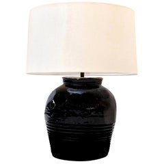 Black Glazed Ceramic Lamp