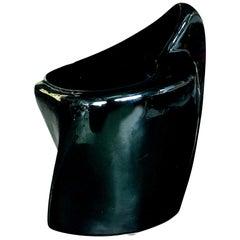 Black Glazed Pottery Organically Shaped Vase or Vessel by Frankoma