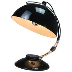 Black Glossy Industrial Desk Lamp from the 1950s