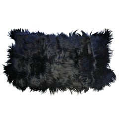Black Goat Hair Rug Throw, Customize to Any Size