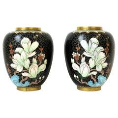 Black Gold and Pastel Colors Cloisonné́ Enamel and Brass Flower Vases, a Pair