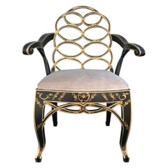 Black & Gold Chinoiserie Armchair