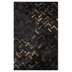 Black & Gold Customizable Art Deco Estrella Cowhide Area Floor Rug Large