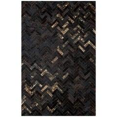 Black and Gold Customizable Art Deco Estrella Cowhide Area Floor Rug X-Large