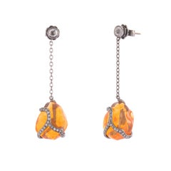 Black Gold Earrings Featured Two Big Fire Opal and Diamonds