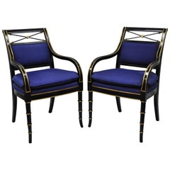 Black & Gold English Regency Style Arrow Back Armchairs Neoclassical Chair, Pair