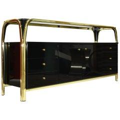 Black & Gold Italian Sideboard Credenza, 1970s Hollywood Regency Era