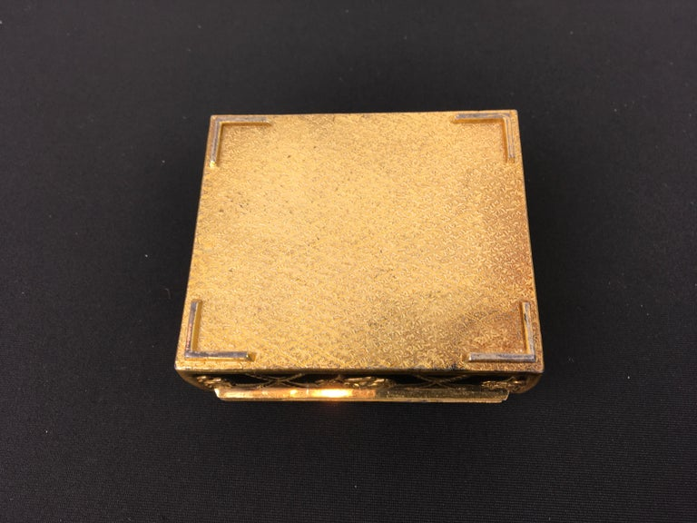 Black Gold Metal Jewelry Box or Trinket Box with Roses For Sale 7