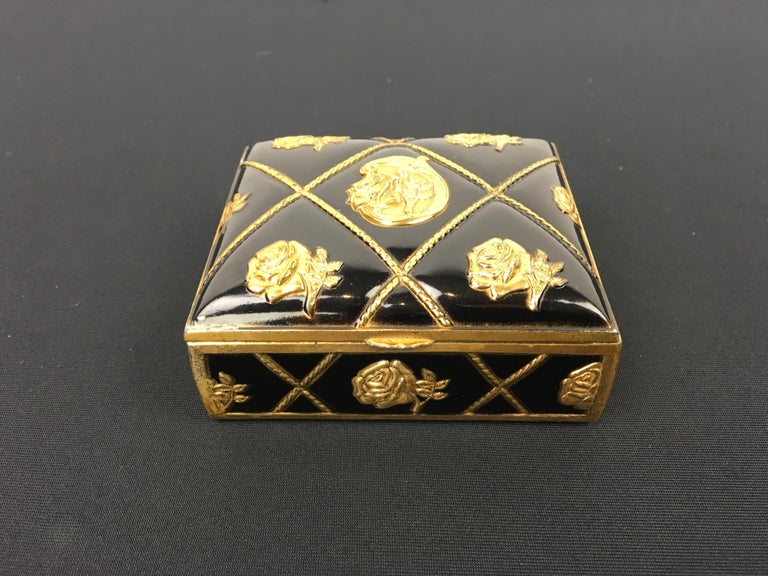 Mid-Century Modern Black Gold Metal Jewelry Box or Trinket Box with Roses For Sale