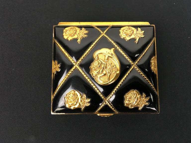 European Black Gold Metal Jewelry Box or Trinket Box with Roses For Sale