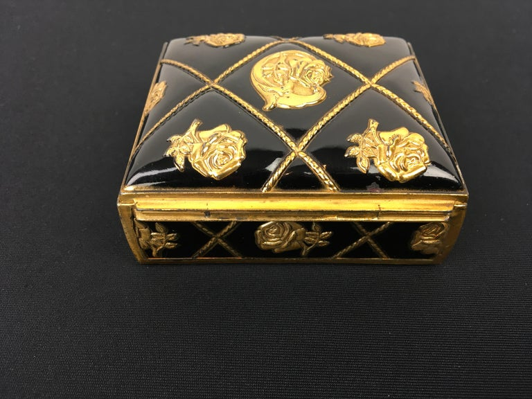 20th Century Black Gold Metal Jewelry Box or Trinket Box with Roses For Sale
