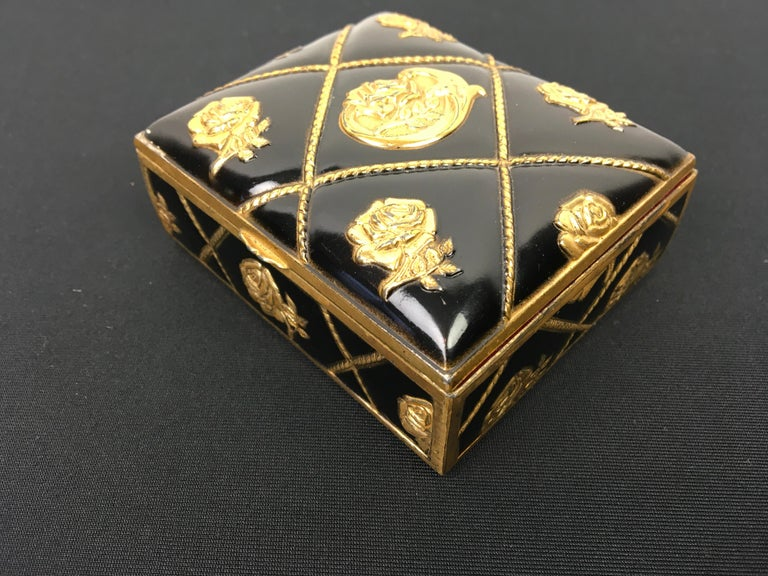 Black Gold Metal Jewelry Box or Trinket Box with Roses For Sale 2