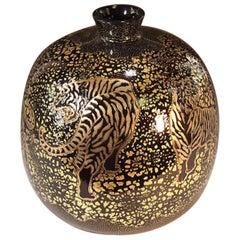 Black Gold Porcelain Vase by Contemporary Japanese Master Artist