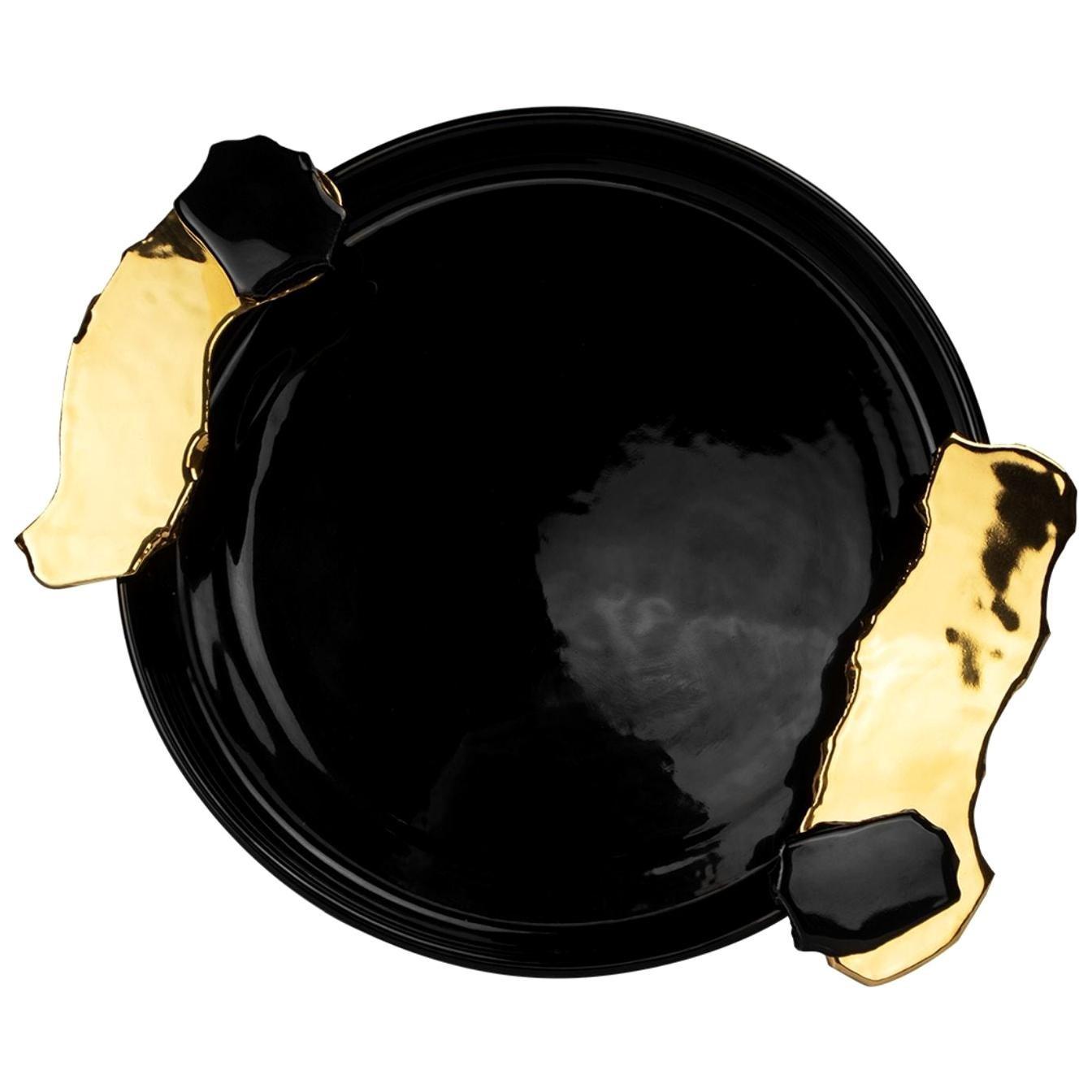 Black & Gold Round Tray with Handles, Hand-Painted Ceramic, Modern Bauhaus