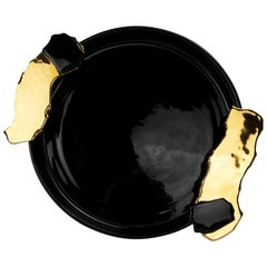 Black & Gold Round Tray with Handles, Hand-Painted Ceramic, Modern Bauhaus