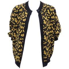 Black & Gold Silk Shoe Print Reversible Sweater Jacket