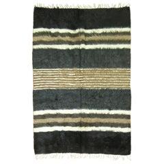 Black Gray Brown Ivory Plush Organic Vintage Mohair Wool Rug