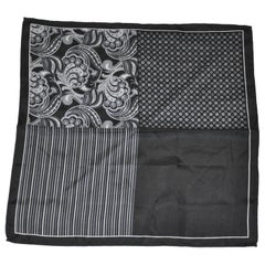 "Black & Gray ""Four Frame"" Silk Handkerchief with Hand-Rolled Edges"