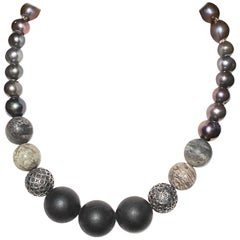 Black & Gray FWCP Pearls with Black Onyx Beads in a Small Choker Silver Necklace