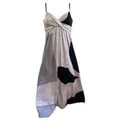 Black gray scribble print silk jersey boho maxi dress BRIE