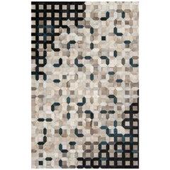 Black, gray tessellation Trellis Cowhide Area Floor Rug X-Large