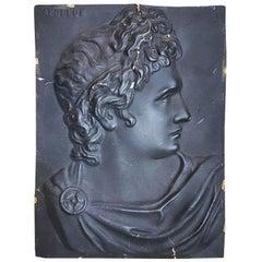 Black Greek Apollo Bust Wall Hanging in Black